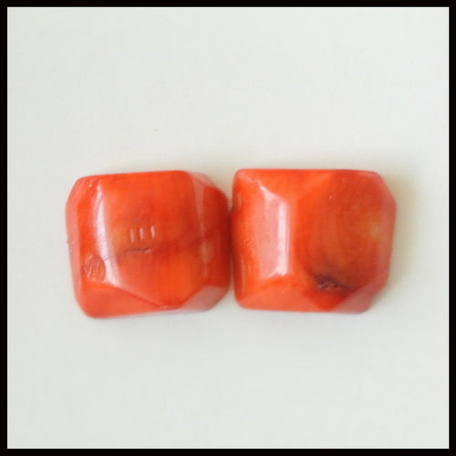 Natural Red Coral Gemstone Cabochon Pair 14x12x6mm,3.9g - MyGemGarden