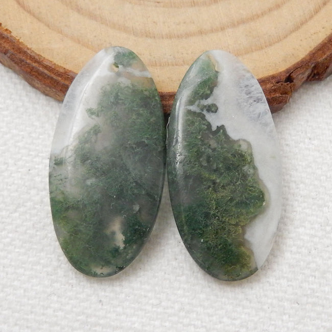 Moss Agate Earrings Stone Pair, stone for earrings making, 30X15X5mm, 6.1g - MyGemGarden