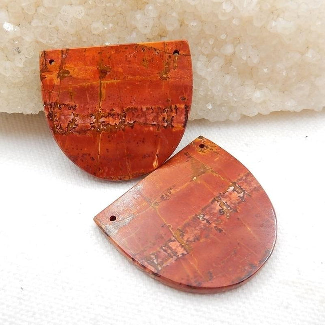 Double Hole Multicolor Picasso Jasper Earrings Stone Pair, 36x32x3mm, 14.2g - MyGemGarden