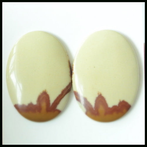 Natural US Biggs Picture Jasper Gemstone Cabochon Pair 25x17x3mm,5.1g - MyGemGarden