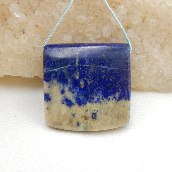 Rectangle Lapis Lazuli Drilled Gemstone Pendant Stone, 27x28x10mm, 15.1g