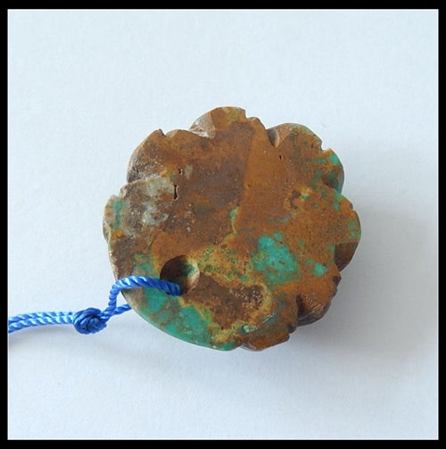 Turquoise Gemstone Pendant Bead With Flower Carving, 30x9mm ,8.8g - MyGemGarden