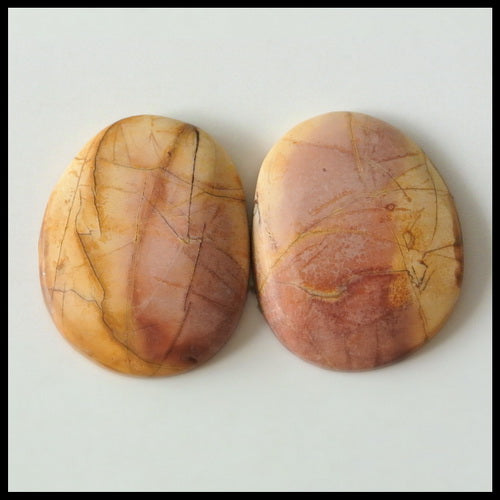 Natural Multi-Color Picasso Jasper Gemstone Cabochon Pair 20x16x4mm,4.0g - MyGemGarden