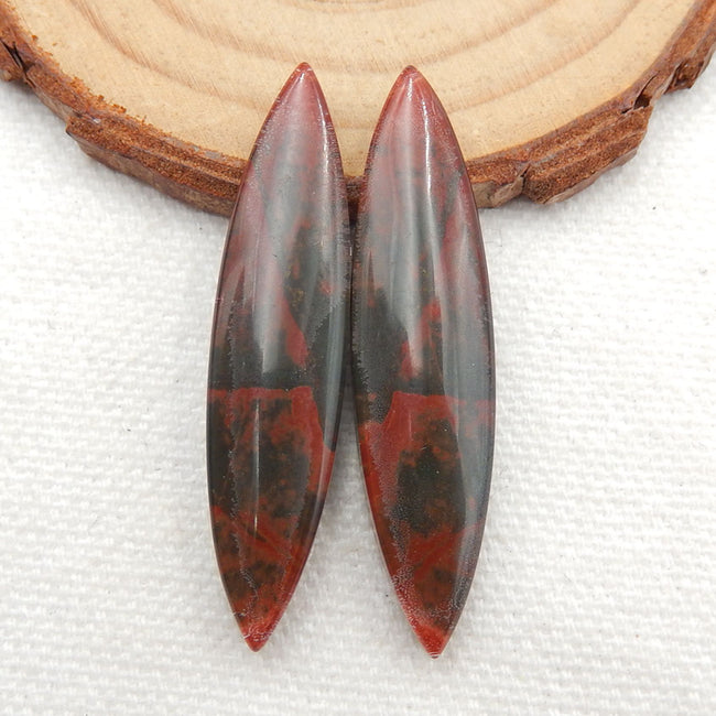 Multicolor Picasso Jasper and White Quartz Glued Gemstone Earrings Stone Pair, 42x10x5mm, 7.8g - MyGemGarden