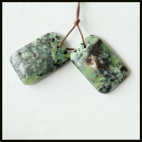 Natural Serpentine Gemstone Earrings Pair, 23x15x4mm, 5.7g - MyGemGarden