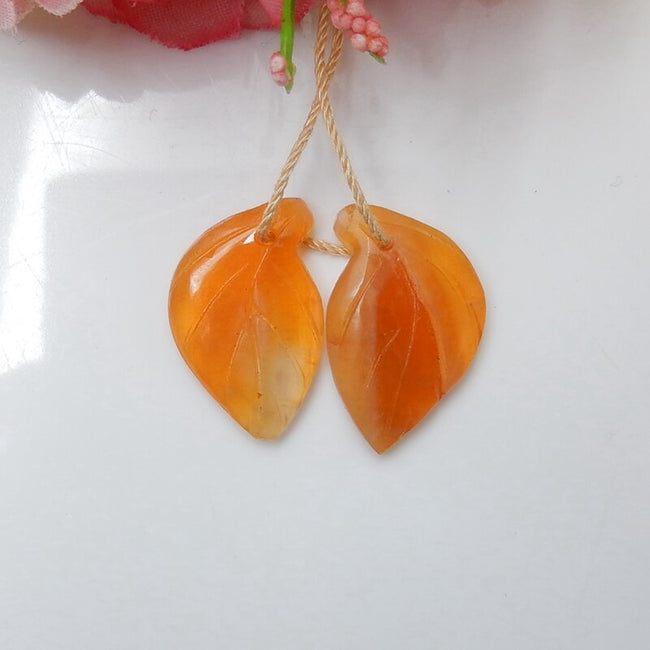 Hot sale Red Agate Carved leaf Earrings Pair, 22x14x4mm, 3.1g - MyGemGarden
