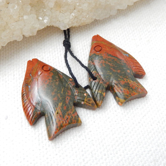 New, Carved Multicolor Picasso Jasper Fish Gemstone Earrings Set, 28x21x5mm, 7.2g - MyGemGarden