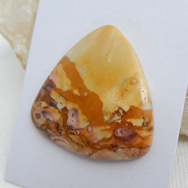 Natural Us Biggs Jasper Gemstone Cabochon, 40x36x5mm, 11.05g