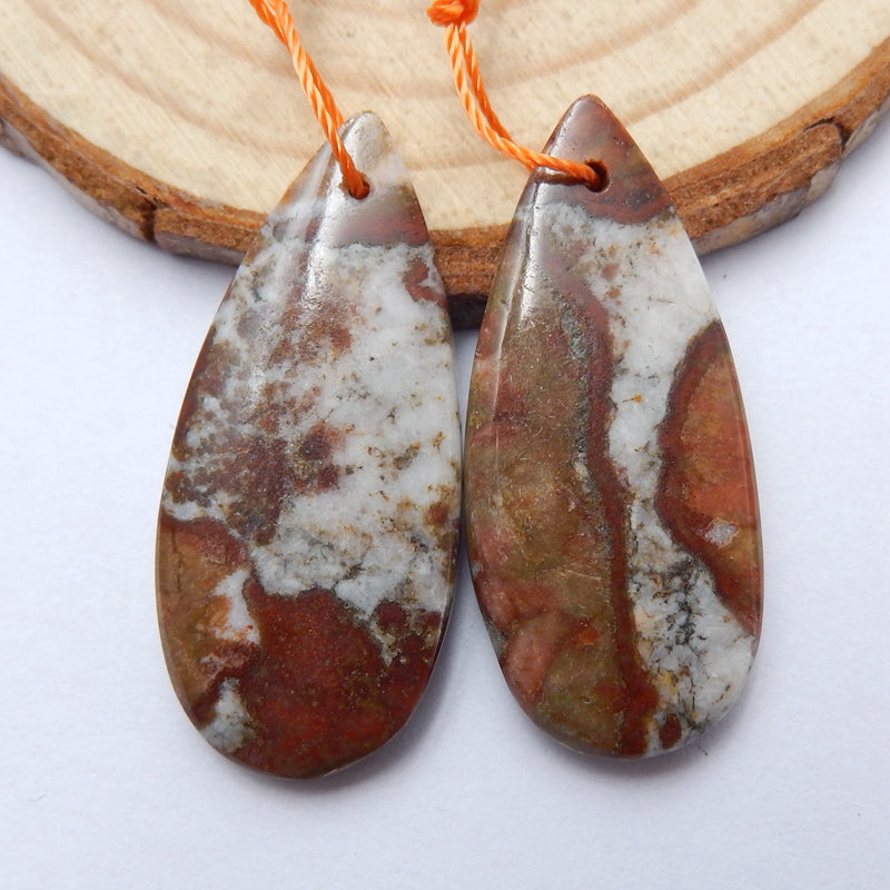 Natural Mushroom Jasper Teardrop Earrings Pair, stone for Earrings making, 32x15x3mm, 6.7g - MyGemGarden