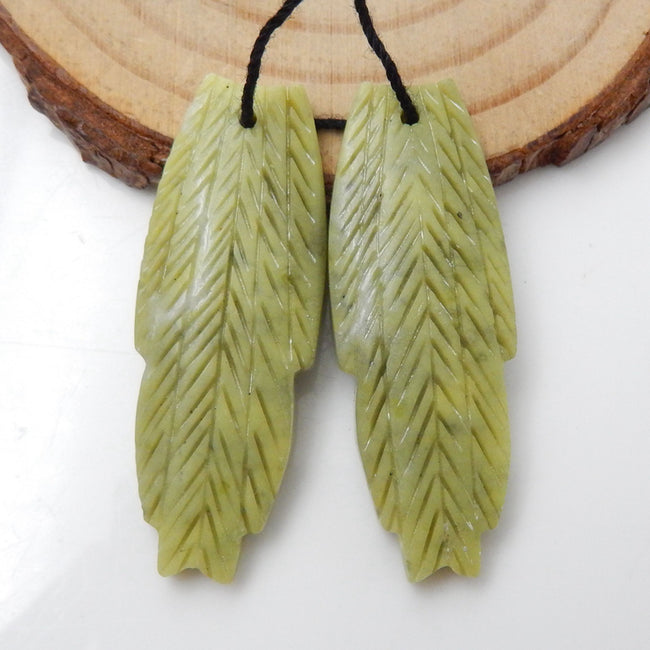 Carved Feather Shaped Serpentine Earrings Stone Pair, 38x14x4mm, 7.3g - MyGemGarden