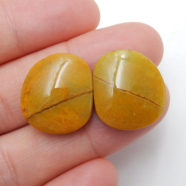 Natural Yellow opal Gemstone Cabochon Pair, 17x16x5mm, 3.7g - MyGemGarden