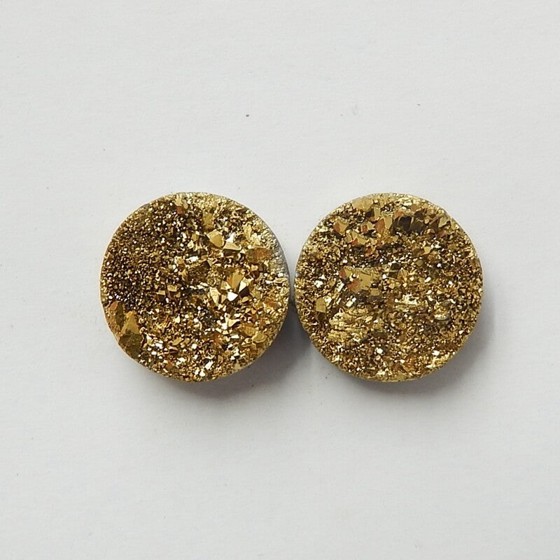 High Quality Raw Golden Crystal 10mm round cabochons Pair, 10x10x4mm, 1.4g - MyGemGarden