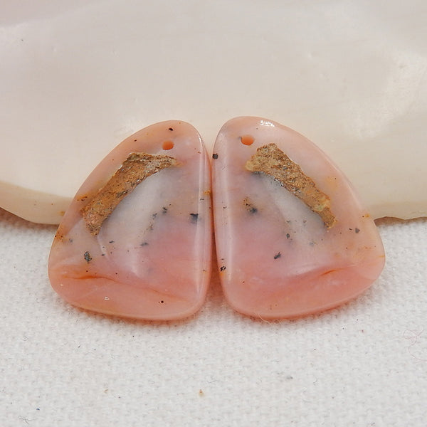 Nugget Stone Pink Opal Gemstone Earrings, 23x17x5mm, 4.6g - MyGemGarden