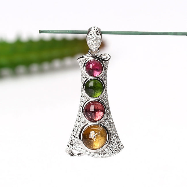 Natural Gem Tourmaline s925 Sterling Silver Crystal Necklace Pendant, 32x15x6mm, 2.9g