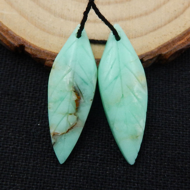 Chrysoprase Carved Leaf Earrings Stone Pair, 29x10x4mm, 3g - MyGemGarden