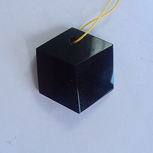 Obsidian Gemstone Faceted Pendant, 28x24x6mm, 6.4g - MyGemGarden