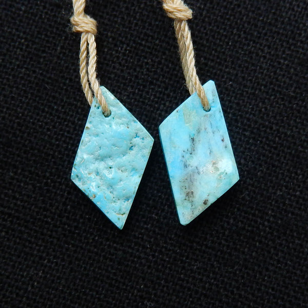 Turquoise Earrings Stone Pair, stone for earrings making, 19x9x4mm, 1.7g - MyGemGarden