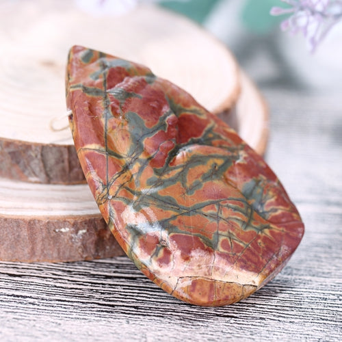 Water Drop Shape Carving Multi-Color Picasso Jasper Gemstone Pendant Beads 60x38x11mm 29.7g - MyGemGarden