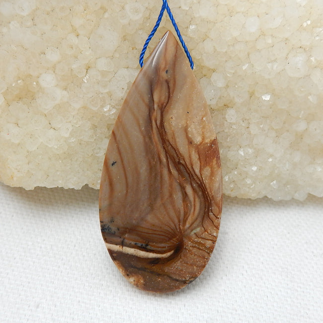 Natural Us Biggs Jasper Drilled Teardrop Gemstone Pendant Bead, 53x25x5mm, 12.3g - MyGemGarden
