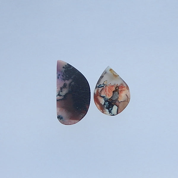 Natural Arborization Opal Gemstone Cabochon Pair 27x14x5mm,21x16x5mm,5.7g - MyGemGarden