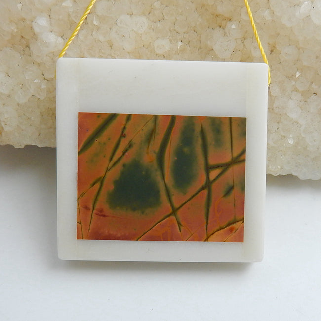 Natural White marble And Multi-Color Picasso jasper Drilled Rectangle Glued Pendant Bead, 37x35x7mm, 22.7g - MyGemGarden