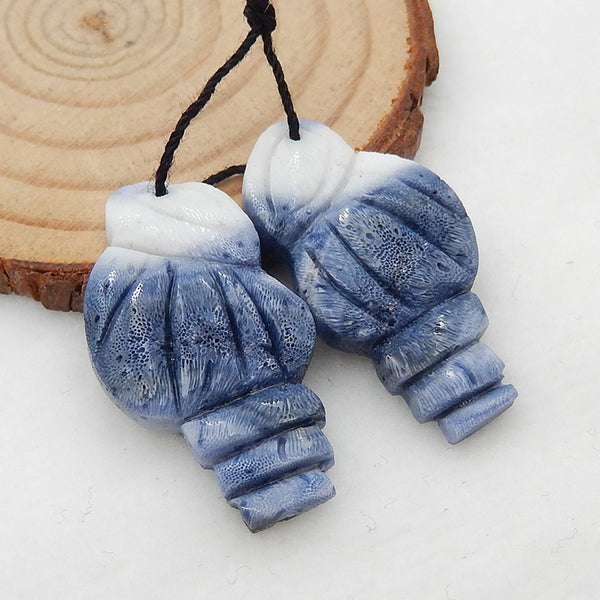 Carved Shell Shaped Blue Coral Earrings Stone Pair, 33x18x4mm, 6.2g