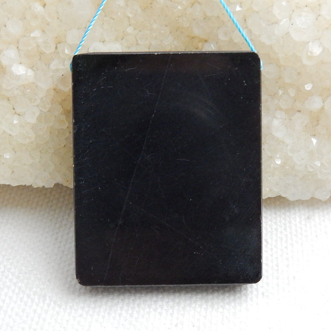 Natural Black Stone And Multi-Color Picasso jasper Drilled Rectangle Glued Pendant Bead, 39x32x6mm, 19.5g - MyGemGarden