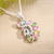 Peacock Natural Gem Tourmaline s925 Sterling Silver Crystal Necklace Pendant For Women, 30x15x4mm, 3.2g