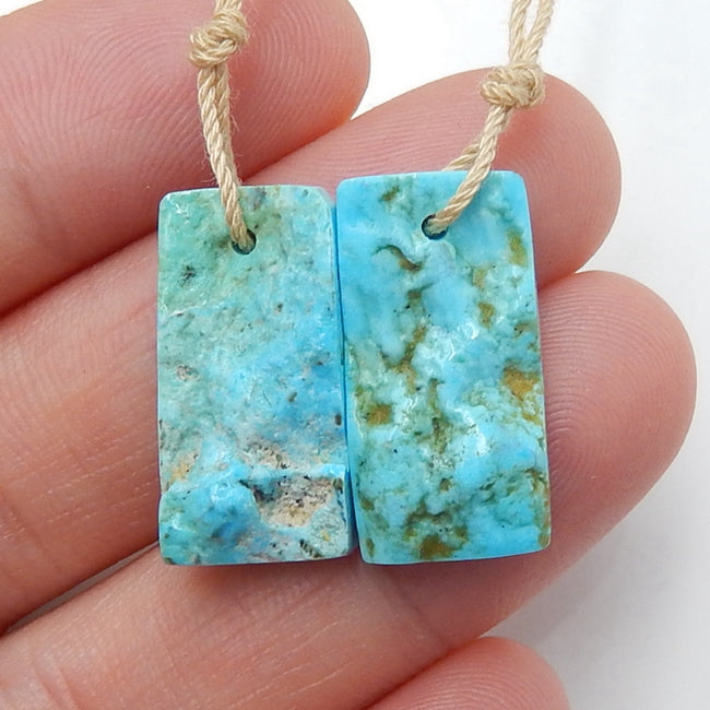 Natural nugget Turquoise Earrings Pair, stone for Earrings making, 20x10x5mm, 3.6g - MyGemGarden