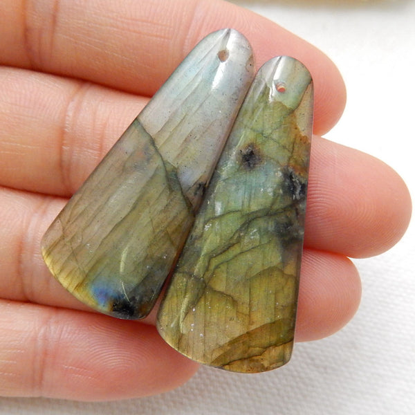 Labradorite Earrings Stone Pair, stone for earrings making, 37x17x4mm, 8.4g - MyGemGarden