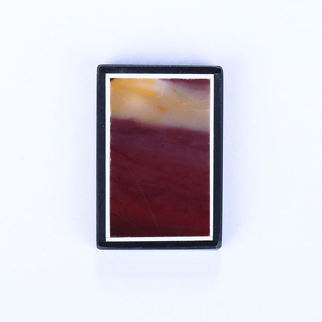 Natural Mookaite Jasper and Obsidian Glued Drilled Pendant Bead, 35x24x5mm, 10g - MyGemGarden