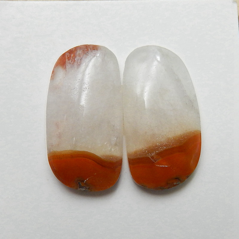 Natural Warring States Red Agate Gemstone Cabochon Pair, 22x12x4mm, 4.4g - MyGemGarden