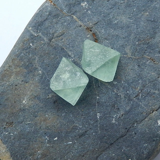 Natural nugget Fluorite Gemstone Cabochon Pair, 14x11mm, 3.5g - MyGemGarden