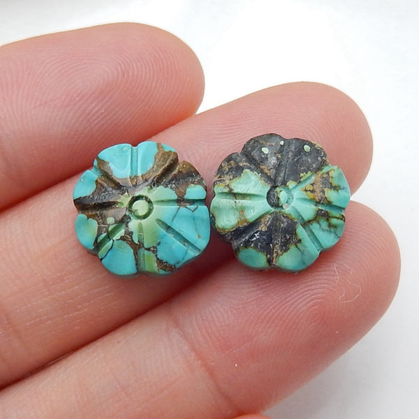 2 pcs Turquoise Carved Flowers Cabochon Pairs, 13x4mm, 2.1g - MyGemGarden