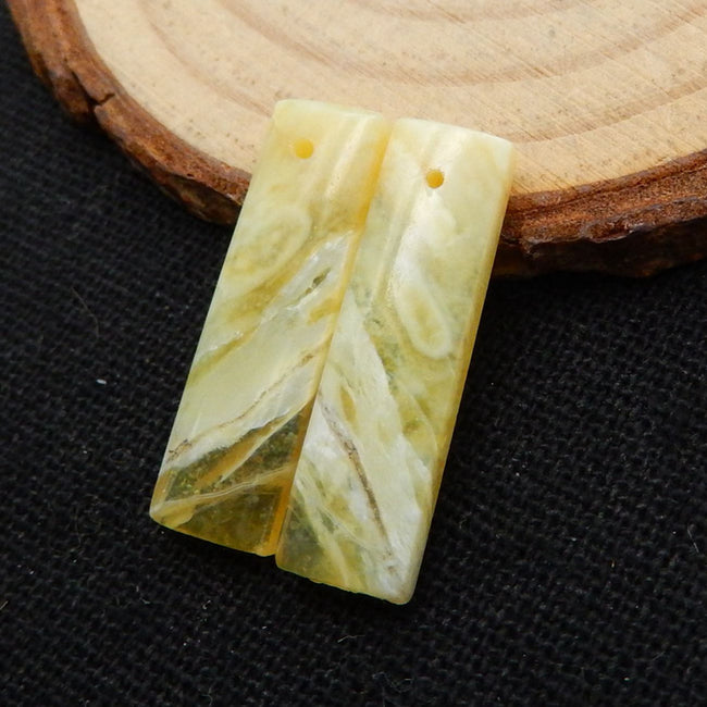 Yellow Opal Earrings Stone Pair, stone for earrings making, 24x7x3.5mm, 2.1g - MyGemGarden