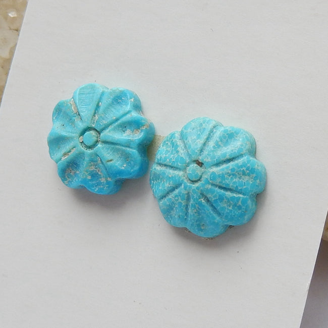 2 pcs Turquoise Carved Flowers Cabochon Pairs, 11x3mm, 1.4g - MyGemGarden