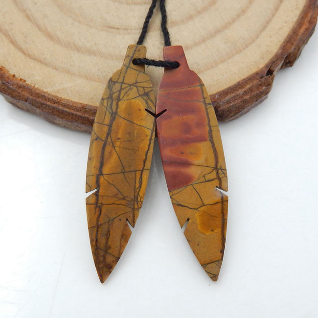 Hand Carved Multicolor Picasso Jasper carved Feather Shaped Earrings Stone Pair, 36x9x3mm, 3.1g - MyGemGarden