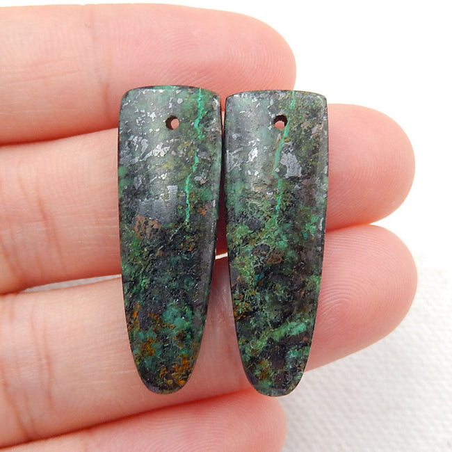 African Turquoise Earrings Stone Pair, stone for earrings making, 30x10x4mm, 4.7g - MyGemGarden