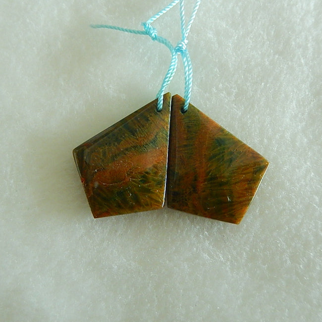 Natural Handmade Ocean Jasper Earrings Pair 29x21x5mm,6.7g - MyGemGarden