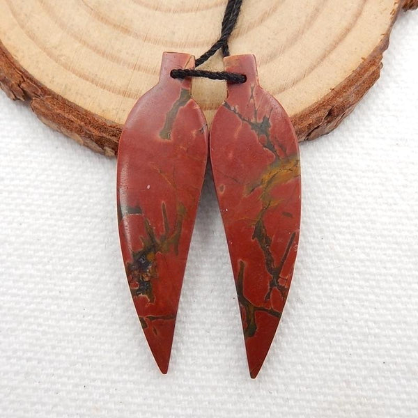 Carved Leaf Multicolor Picasso Jasper Earrings Stones, 40x11x4mm, 5.2g - MyGemGarden