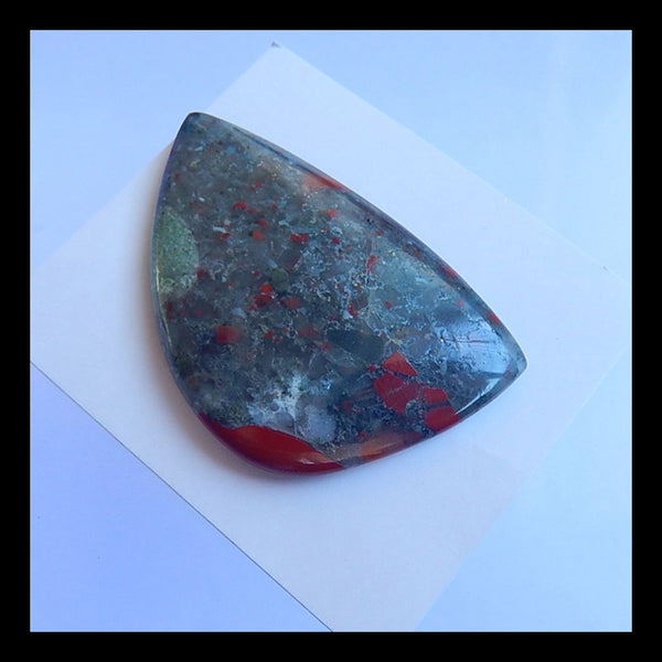 Natural African Blood Stone Gemstone Cabochon,53x34x6mm,19.15g - MyGemGarden