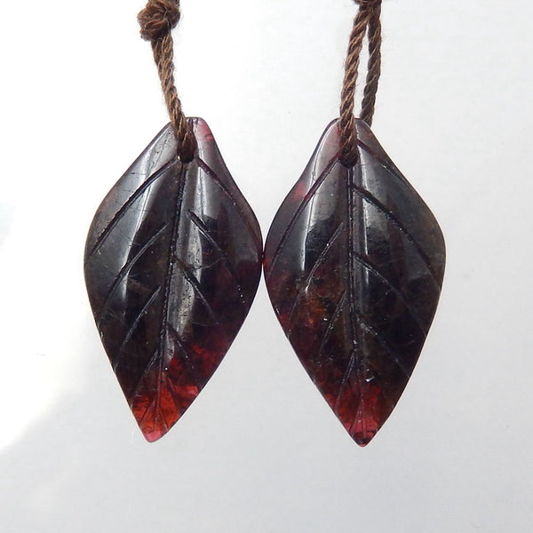 Garnet Carved Leaf Earrings Stone Pair, 22x12x4mm, 4.2g - MyGemGarden