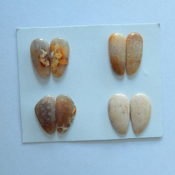 4 Pair Natural Indonesian Fossil Coral Cabochon Pair,19x15x3mm,18x9x4mm,7.7g - MyGemGarden