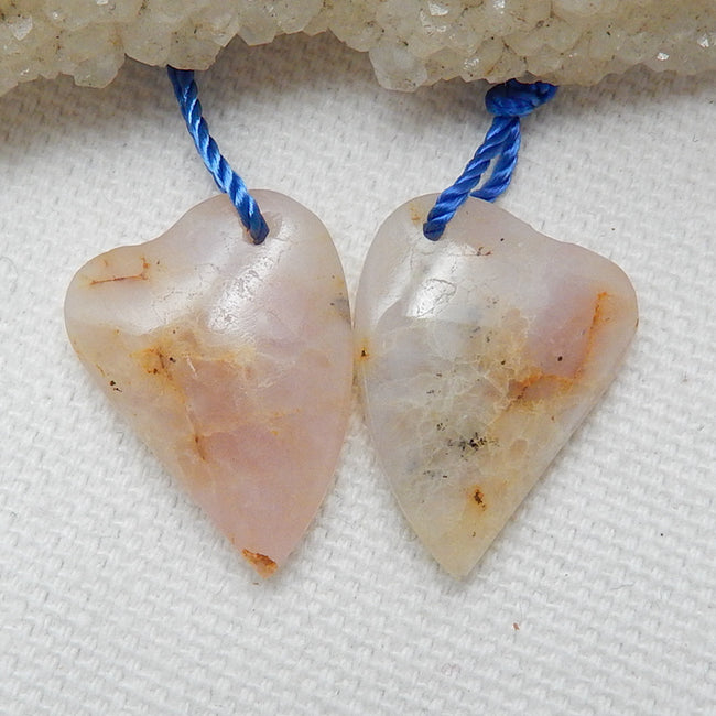 Natural Pink opal Earrings Pair, stone for Earrings making, 20x15x5mm, 3.8g - MyGemGarden