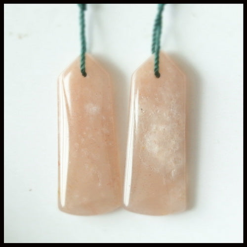 Natural Sunstone Gemstone Earrings Pair, 32x13x4mm, 6.4g - MyGemGarden