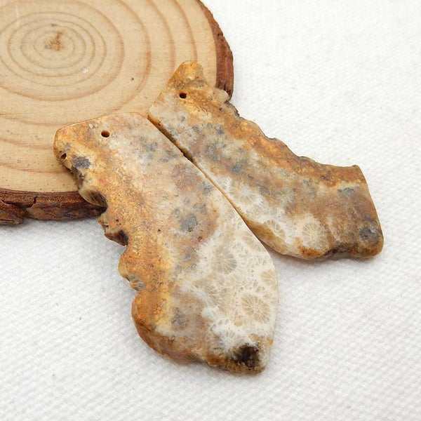 Nugget Indonesian Fossil Coral Earrings Stone Pair, stone for earrings making, 46x20x3mm, 10.3g - MyGemGarden