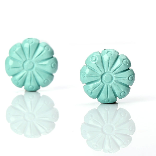 Sale 1 Pair Turquoise Carved Flower Loose Gemstone, 14mm
