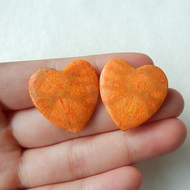 Natural Orange Coral Fossil Heart Cabochon Pairs 25x24x5mm,7.2g - MyGemGarden