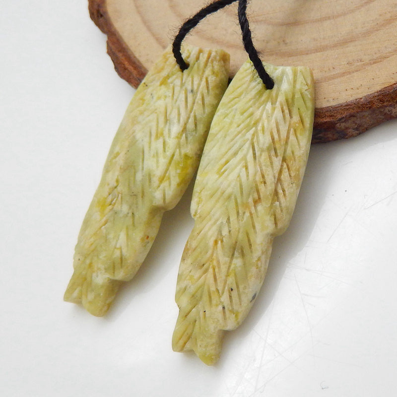 Carved Feather Shaped Serpentine Earrings Stone Pair, 36x13x4mm, 5.6g - MyGemGarden