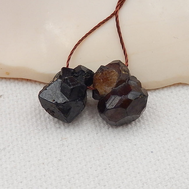 Nugget Tourmaline Earrings Stone Pair, stone for earrings making, 12x10x9, 12x11x9mm, 3.8g - MyGemGarden